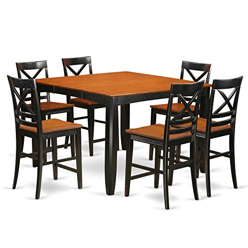 East West Furniture FAQU7H-BLK-W 7 Piece Dining Table and 6 Kitchen Bar Stool Set