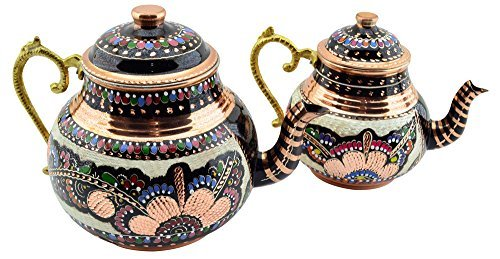 CopperBull Handmade HandPainted Copper Double Teapot with Brass Handle,3 Quart