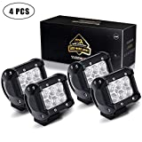 TURBOSII Flood 4In Pods Cube Square Led Work Light Bumper Grill Off Road Backup Reverse Fog Lights Auxiliary Driving Headlights for Emergency Light Truck Motorcycle Jeep Wrangler Boat Tractor 12v-24v