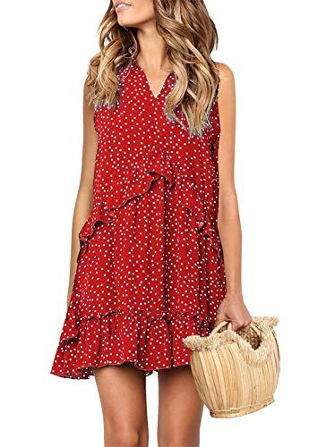 onlypuff Red V-Neck Dress for Women Sleeveless Tank Top Dresses Polka Dot Ruffled Swing Tunics M ()