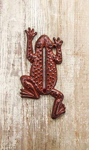 Cast Iron Frog Outdoor Thermometer 9in - Thermometer Frog