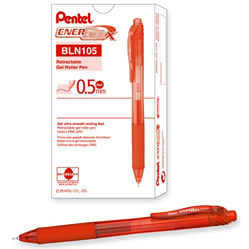 Pentel EnerGel-X Retractable Liquid Gel Pen (0.5mm) Needle Tip, Fine Line, Orange Ink, Box of 12 (BLN105-F)