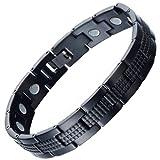 COOLSTEELANDBEYOND Modern Sleek Black Stainless Steel Mens Magnetic Bracelet with Magnets Free Link Removal Tool