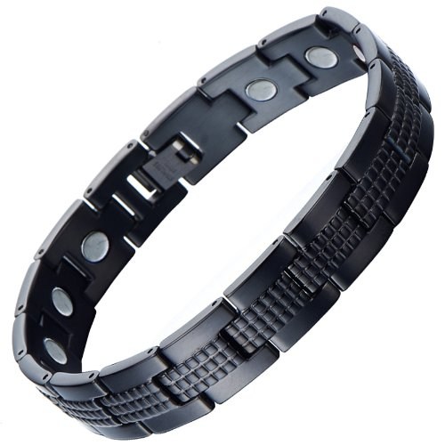 COOLSTEELANDBEYOND Modern Sleek Black Stainless Steel Mens Magnetic Bracelet with Magnets Free Link Removal - New Mens Stainless Bracelet Steel