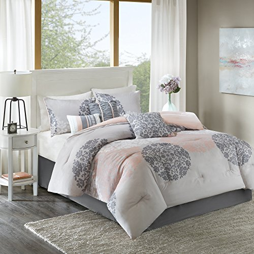 Lightweight King Comforter Set - Springfield 7 Pieces All Season Comforter Goose Down Alternative Fill - Brown and Coral - Includes , 2 Shams, Bedskirt and Pillows By Home Essence (Gray And Bedding Coral)