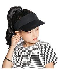 Kids Sun Hat Visor Adjustable - Athletic Sports Hat Black
