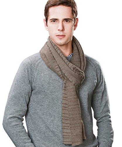 (Winter Wool Long Scarf for Men Shawl Wraps Blanket Thick Warm Soft Classic Premium Camel/Gray SIGGI)