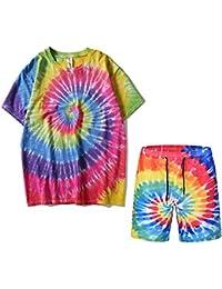 Unisex Adult Tie Dye T-Shirts Colorful Spiral Drawstring Short Hip Hop Casual Suit