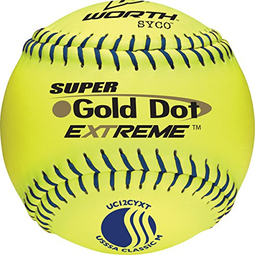 Worth 12-Inch USSSA Stamped Slowpitch UC12CYXT Optic Yellow Procomp Cover Ball (Pack of 12) by Worth