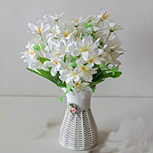 Artificial Flowers,Feicuan Fake Silk Leaves Lilies Narcissus Wedding Bouquet 18 Heads Table Adornment Party Room Home Floral Decorations -White 87