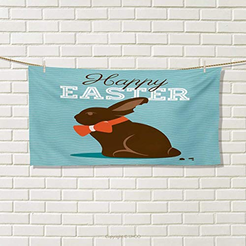 Chaneyhouse Easter,Travel Towel,Chocolate Bunny with an Orange Bow Tie on a Wavy Stripes Background,100% Microfiber,Dark Brown Orange Pale Blue Size: W 12