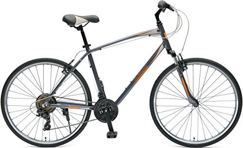 Critical Cycles Men's Barron Hybrid 21 Speed Bike, Graphite/Orange, 16