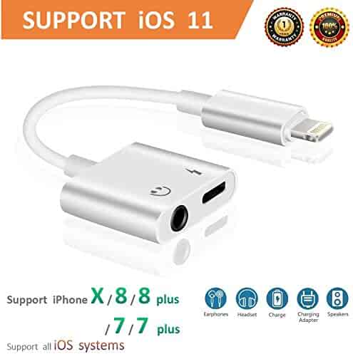 Lightning to 3.5mm Aux Headphone Jack Audio Adapter for iphone 7 / 8 / X / 7 plus / 8 plus (Support iOS 10.3, iOS 11), Cone 2 in 1 Lightning Adapter and Charger (White)