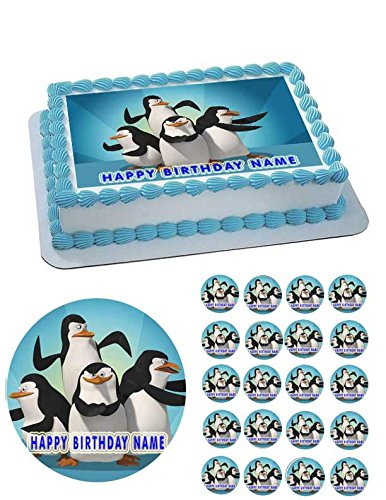 Penguins of Madagascar Edible Cake OR Cupcake Topper - 7.5' round inches