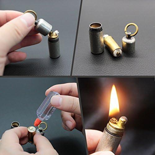 PPFISH Mini Brass Lighter Waterproof Fire EDC Peanut Lighter Keychain