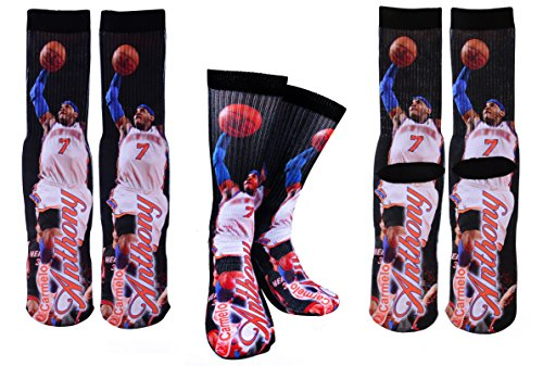 Forever Fanatics New York Carmelo Anthony  7 Basketball Crew Socks Sizes 6 13   Ultimate Basketball Fan Gift  Size 6 13  Anthony  7