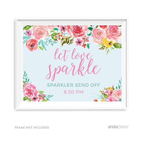 Andaz Press Pink Roses English Tea Party Wedding Collection, Personalized Party Signs, Let Love Sparkle, Sparkler Send Off, 8.5x11-inch, 1-Pack, Custom Made Any Time