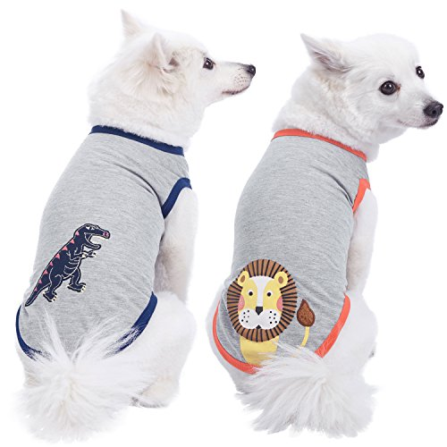 Blueberry Pet Pack of 2 Soft & Comfy Zoo Fun Cotton Blend Dog T Shirts, Back Length 14, Clothes for Dogs