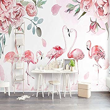 L22LW Wallpaper Flamant Rose Rose Salon Scandinave Moderne, Murs ...