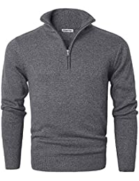 Men's Long Sleeve Quarter Zip Sweater Knit Turtleneck Pullover