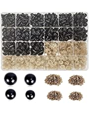 800 Pieces Black Plastic Safety Eyes with Washers for Crochet Animal Crafts Doll Eyes Amigurumi Eyes Teddy Bear Eyes for Doll, Plush Animal and Teddy Bear Craft Making(4 Sizes)