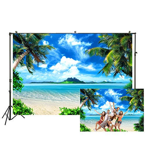 Beach Theme Background (7x5ft Hawaii Summer Pictures Photography Background Blue Sky Tree Sunshine Natural Beach Scenery Theme Photo Booth Background for Pictures Baby Shower Summer Holiday)