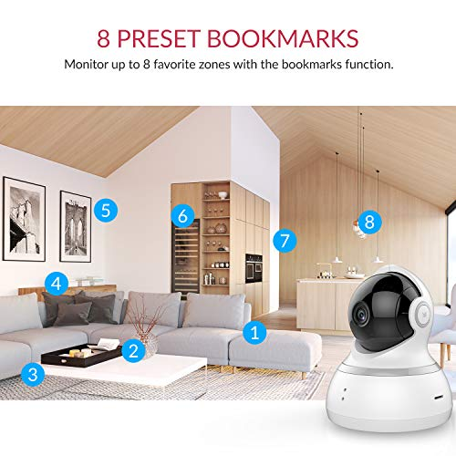YI Dome Camera, 1080p HD Indoor Pan/Tilt/Zoom Wireless IP Security Surveillance System with Night Vision, Motion Tracking - Cloud Service Available (White)