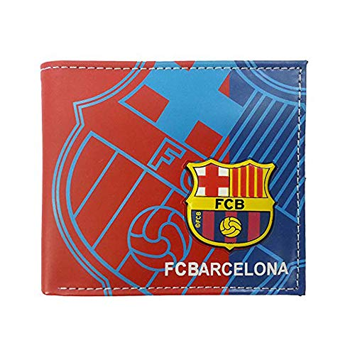 (ZQfans Football Club Wallet Soccer Team Logo Printed Wallet Unisex PU Leather Wallets for Football Fans (Barcelona, 4.33