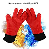 Silicone BBQ /Cooking Gloves with Cotton Lining - Best Heat Resistant Oven Gloves Long Wrist Protection Waterproof Non-slip Grill Gloves Oven Mitts for  Grilling Cooking, Baking, Smoking(Pair)
