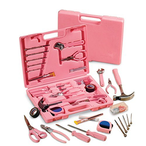 Collections Etc Ladies' Pink Hardware SteelTec Tool Kit - 105 Pc, Pink (Lady A For Present)