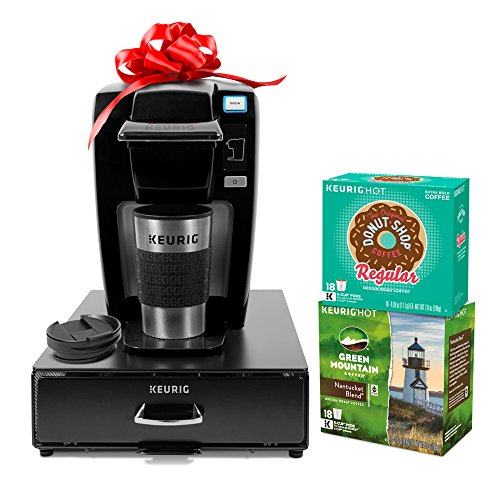 Keurig K15 Single Serve Coffee Maker Holiday Bundle with 36 K-Cup Pods, 12 Oz. Travel Mug and 35 Count K-Cup Pod Storage Drawer, Black (Single Travel Coffee Maker compare prices)