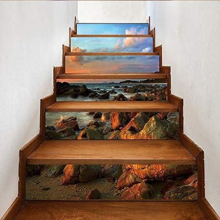 libby-nice Cielo Azul Nube Blanca Piedras Marinas Escena Hermosa Escaleras Escalera Etiqueta Entrada Piso Decoración De Pared Etiqueta De Pared Extraíble 6 Unids/Set: Amazon.es: Hogar