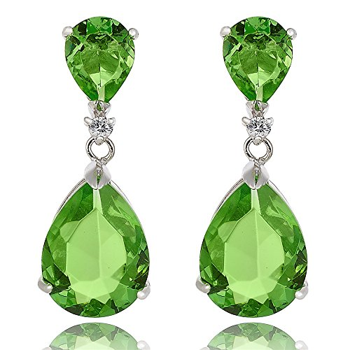 [RIZILIA CELEBOX] Teardrop Dangle Pierced Earrings with Pear Cut CZ [Simulated Peridot] in White Gold Plated, Celebrity inspired by Angelina Jolie (Pear Peridot Drop)