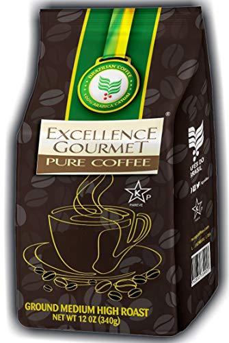 EXCELLENCE GOURMET Ground Gourmet Brazilian Coffee 12oz 340g MEDIUM-HIGH Roast 100% Natural Arabica Yellow Catuai Gluten Free Kosher For Sale