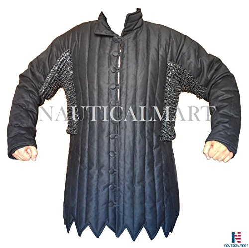 Black Cotton Gambeson with Stainless Steel Maille Voiders Rust Proof ABS Size- 44'' by NAUTICALMART