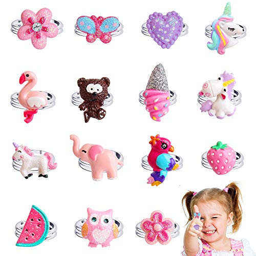 Hicdaw 15PCS Adjustable Rings Set for Little Girls Jewel Rings Sets for Children Kids with Flower heart Shape, Butterfly Rings for Heart Display Case, Girl Pretend Play and Dress up Rings