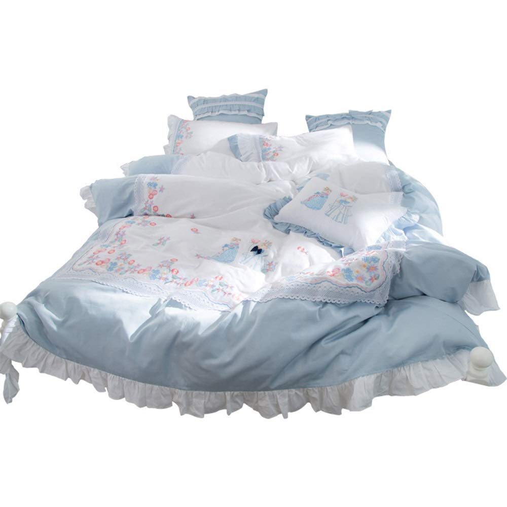 CSYP 新鮮な60サテンの漫画の刺繍ロングステープルコットンヨーロッパ綿の綿7点セット (Size : M) B07Q357D68