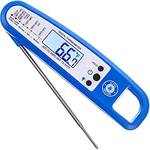 Instant Read Thermometer For Meat & Cooking. SOLD IN ELEGANT GIFT BOX. Best Backlit Ultra Fast Digital BBQ Food Probe For Grill & Kitchen. Includes Internal Barbecue Meat Temperature Guide