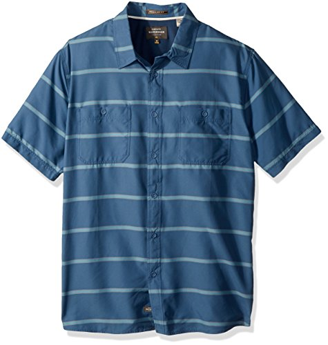 Quiksilver Waterman Men's Wake Stripe UPF 50+ Sun Protection Shirt, Ensign Blue, XXL