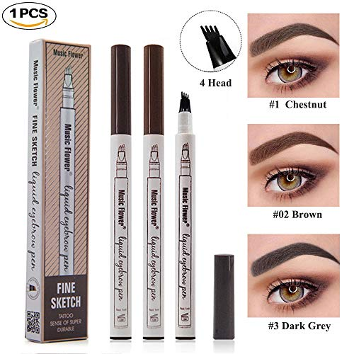 Tattoo Liquid Eyebrow Pencil with Four Fork Tips Waterproof & Long-lasting Eye Brow Pencil Ink Sketch Eyebrow Pen for Natural Eyes Makeup -Chestnut