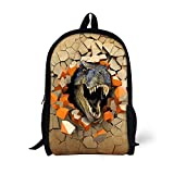 UNICEU Kids School Bag T-Rex Dinosaur Printing Backpack Bookbags for Teen Boys