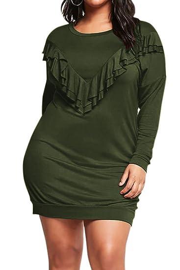 Vamjump Women Plus Size Long Sleeve Ruffle Casual Crewneck Mini