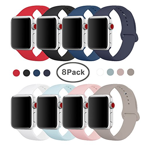 SIRUIBO Band for Apple Watch 42mm, Soft Silicone Sport Strap Replacement Bracelet Wristband for Apple Watch Series 3, Series 2, Series 1, Sport, Edition, S/M Size (8Pack)