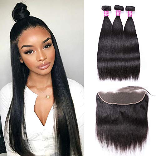 Sterly Brazilian Straight Hair 3 Bundles With Frontal 13x4 Ear To Ear Lace Frontal With Bundles Unprocessed Virgin Human Hair Extensions Natural Color (16 18 20+14)