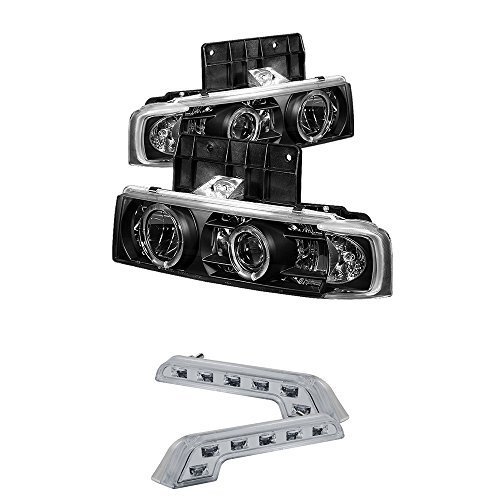 1995-2004 CHEVY ASTRO VAN DUAL HALO PROJECTOR HEADLIGHTS + LED FOG BUMPER LAMPS