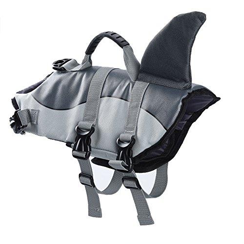 FONLAM Pet Life Jacket Secure Apparel Coat Adjustable Dog Life Vest Lifesaver Swimsuit Floatation Preserver (S, Shark) by FONLAM