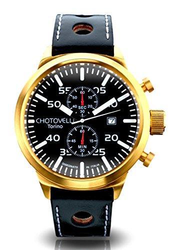 Chotovelli Big Pilot Mens Watch- Chronograph Display, Sapphire Glass,Italian Leather Racing Wrist band 79.7