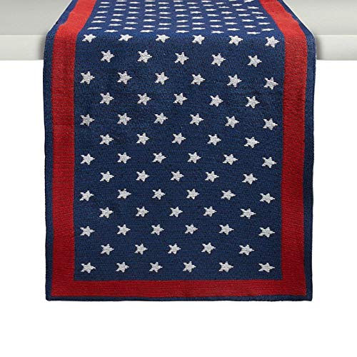 Windham Home Patriotic Tapestry Table Runner Americana Flag Star and Stripes 13 x 72 -