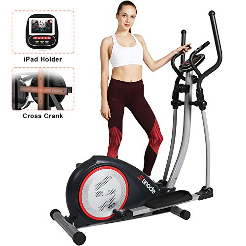 SNODE Magnetic Elliptical Trainer Exercise Machine with Heavy Duty Cross Crank Driven Tablet Holder and Pulse Rate Monitoring for Home Fitness Cardio Training Workout