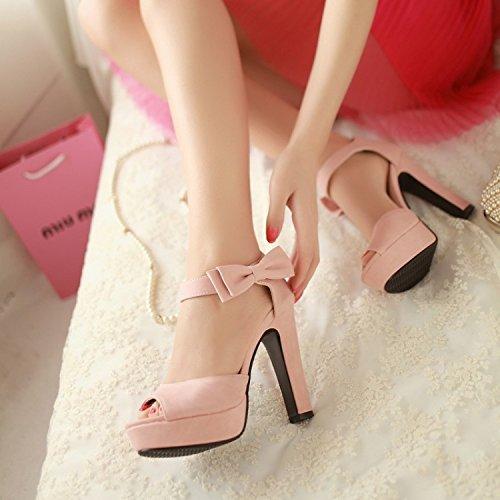 De Zapatos Mujer Dulce De Mujer Boca Tacon Ocio Bow KPHY De Sandalias Tacon Impermeable Pescado Verano Sandalias De Pink Grueso wUa55g
